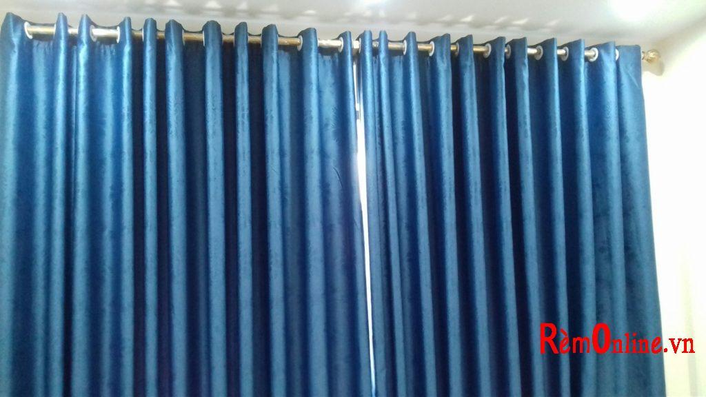 rèm vải may ô rê tạo sóng kéo sang 2 bên